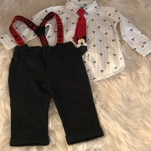 Disney Boys' 3 Piece White/Black Mickey Mouse Set